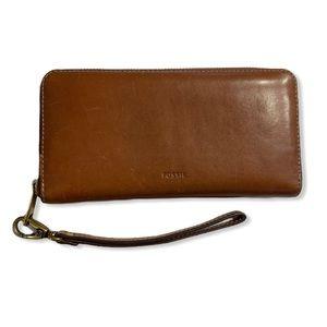 Fossil Wallet Zip Around Leather Wristlet Bifold